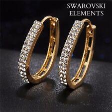 Boucles d'oreilles créoles ovales tendances cristal swarovski plaqué or jaune