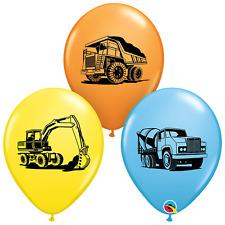 "Five 11"" Construction Balloons, Construction Birthday Party, Dump truck Balloons"