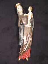 Madonna mit Jesukind, handgeschnitzt, Zirbenholz, ca. 42 cm mit Blattgold gefaßt