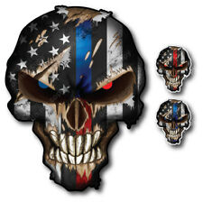 3x Thin Blue Red Line Punisher Skull American Flag Sticker Vinyl Decal Car Truck