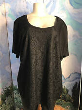 Calvin Klein Plus 2X New Black Lace Lined Scoop Neckline Short Sleeve Tunic Top