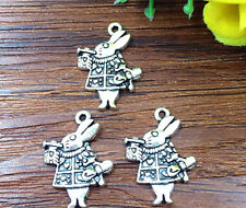 8pcs Alice rabbit  Tibetan Silver Bead charms Pendants DIY jewelry 21x15mm