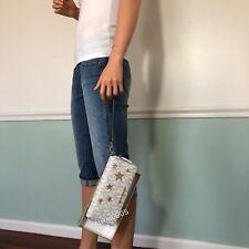 NEW! MICHAEL KORS PVC Leather Zip Around Wallet Wristlet in Vanilla & Gold
