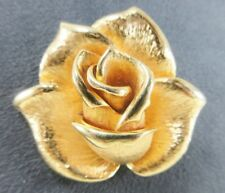 """Piscatelli Signed Single Rose Yellow Gold tone 2"""" Pendant / Brooch Pin Vntg Love"""
