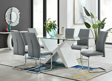 Torino Large Rectangular White & Glass Dining Table with 6 Faux Leather Chairs