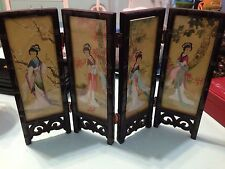 "Oriental Geisha Girl Wood Glass Table Top Screen 8"" Tall X 12"" Wide"