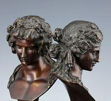 Leone Clerici Paar Bronze Büsten 1880 Dionysos und Ariadne Italien Grand Tour