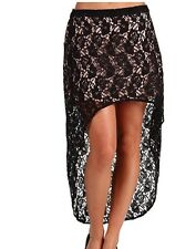 Volcom Black Lined Lace High Low Skirt  NWT Medium