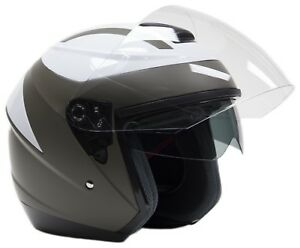 White Open Face 3/4 Helmet Motorcycle Moped Scooter Integrated Visor DOT Small
