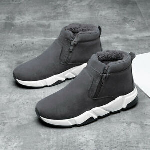 Mens Casual Outdooor Shoes Winter Warm Fleece Lined Zip Ankle Snow Boots Size