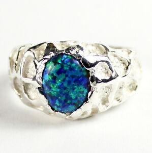 CREATED BLUE/GREEN OPAL Sterling Silver Men's Ring, Handmade • SR168