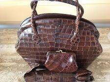 Vintage Rare! Nettie Rosenstein Brown Alligator Kelly Bag W/ Change Purse