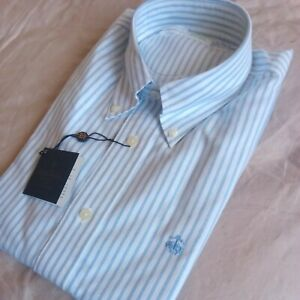 Brooks Brothers button down striped blue cotton shirt size Small NEW