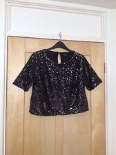 Topshop Black & Silver Sequin Blouse Top size 14