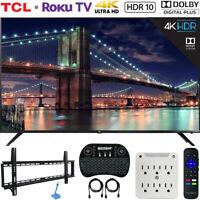 "TCL 65"" Class 6-Series 4K HDR Roku Smart TV w/ Mounting & Hook-Up Bundle"