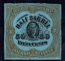 1902 US REA79c Jefferson Lt Blue 50 cent 1/2 barrel Perfin beer tax stamp F/VF^