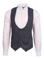 Jack Martin - Black & Multi Colour Birdseye Tweed Double Breasted Waistcoat