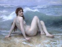 YHLM295  hand-painted nude lady on beach ocean waves OIL PAINTING art on CANVAS