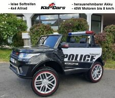 Kinderfahrzeug Polizei Allrad Jeep 8km/h Elektroauto Kinderauto Doppelsitzer suv