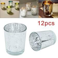 Set of 12pcs Mercury Silver Glass Tea Light Candle Holders Votive Wedding Deco