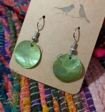 Beautiful boho natural shell earrings green silver lightweight