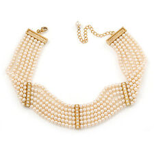 6-Strand Cream Coloured Faux Pearl Bridal Diamante Choker Necklace (Gold Plated