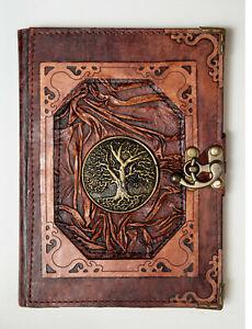 Handmade Genuine Leather Journal Notebook Sketchbook Diary Brown Tree of Life