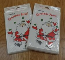 Vintage Christmas Party Invitations Santa Claus Greetings Cards x 2~New~Hawley