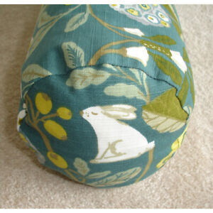 """Bolster Cover Rabbit Hare Flowers Teal Green Yellow Cylinder Cushion 18""""x8"""" 8x18"""