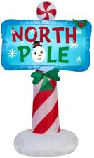 42-in Pre-Lit LED Inflatable Outdoor North Pole Sign Christmas Holiday Decor
