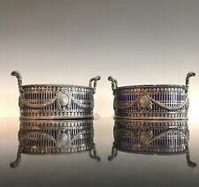 A Pair Of Antique Irish Sterling Silver & Cobalt Neoclassical Butter Dishes