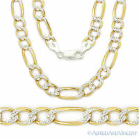 8mm Figaro Pave Link Chain Necklace in Italy 925 Sterling Silver 14k Yellow Gold