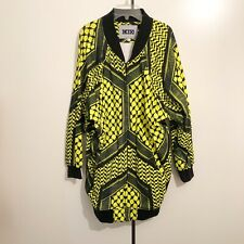 KTZ Kokon To Zai Acid Yellow/Black Unisex Long Batwing Bomber Jacket RRP: £425