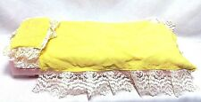 Vintage 1973 Lot 3 Barbie Pink Yellow Bed Blanket & Pillow Doll Furniture EUC