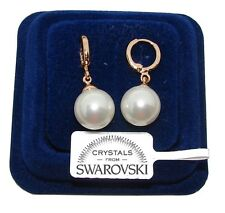 Orecchini da donna pl. oro giallo 18K zirconi cristalli swarovski veri SW/perla