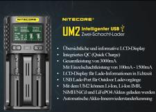 Nitecore UM2 – intelligentes 2 – Schacht USB Ladegerät für Li-Ion, LiFePo4, Ni-M
