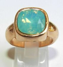 Yellow Gold 24K Plated Ring Set With sparkly Green Crystals Square Shaped Sz 8