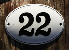 ENAMEL HOUSE No. 22 SIGN. BLACK NUMBER 22 ON A WHITE BACKGROUND. 12x8cm. OVAL