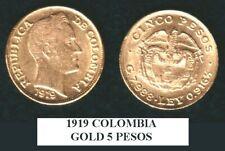 COLOMBIA STELLAR  GEM BU 1919-A  CLASSIC COIN .2354  AGW 5 gold  Pesos  Bolivar