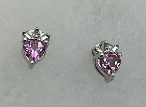 Pretty 10k White Gold Heart Pink Topaz, Round Diamond accent Stud Earrings .50ct