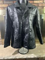 Vintage Leather and Soul Black Patchwork Leather Jacket Womens Size XL Full Zip