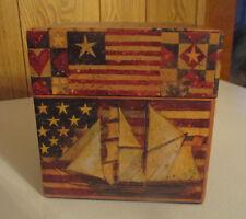 Bob's Boxes Americana Old Glory Patriotic Square Storage Box Weathered look NEW!