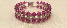 Handmade Chainmaille Bracelet Silver Filled with Hot Pink Crystals. 7 In.