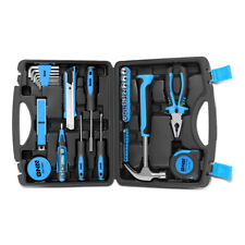 46Pcs Blue Home Repair Hand Tool Set Toolbox Knife Plier Hammer Test Pen Sockets