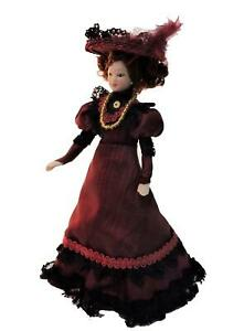 Dolls House Victorian Lady in Plum Outfit Miniature People Porcelain
