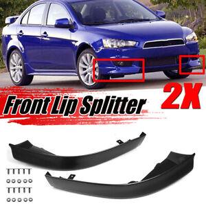 LH+RH Front Bumper Lip Spoiler Wrap Spat Splitter For Mitsubishi Lancer 2008-15