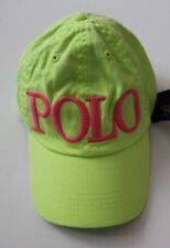 Ralph Lauren Girls Chino Adjustable Ball Cap Hat Neon Green  Size 7-16 NWT