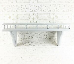 WALL SHELF - Spindle Railings -  Painted Off White Light Gray - Waxed