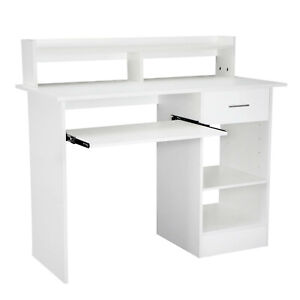 UK Computer Desk with Drawers Storage Shelf Keyboard Tray Laptop Table White