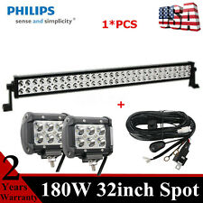 32inch 180W LED Light Bar With Working 18W Pods Truck Toyota Slim+Harness Wiring